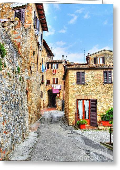 Scenes Of Italy Greeting Cards - A Street In Tuscany Greeting Card by Mel Steinhauer