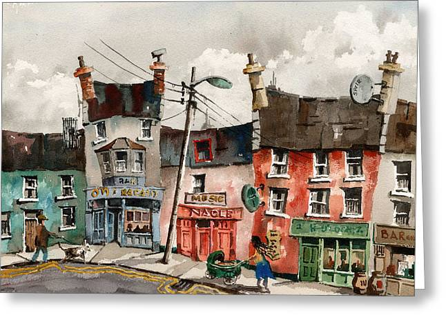 Ennistymon Greeting Card featuring the painting A Street Of Pubs by Val Byrne