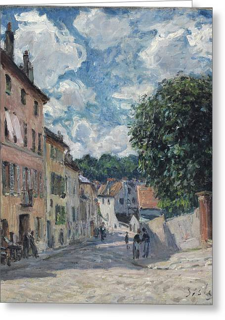 Port Town Greeting Cards - A Street, Possibly In Port-marly, 1876 Greeting Card by Alfred Sisley