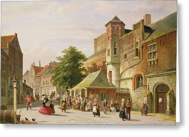 Holland Greeting Cards - A Street Scene In Amsterdam Greeting Card by Adrianus Eversen