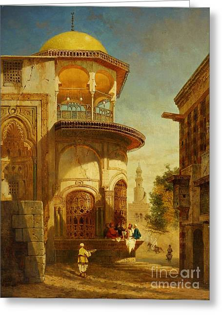 Sahara Sunlight Greeting Cards - A Street Scene In Old Cairo Near The Ibn Tulun Mosque Greeting Card by Celestial Images