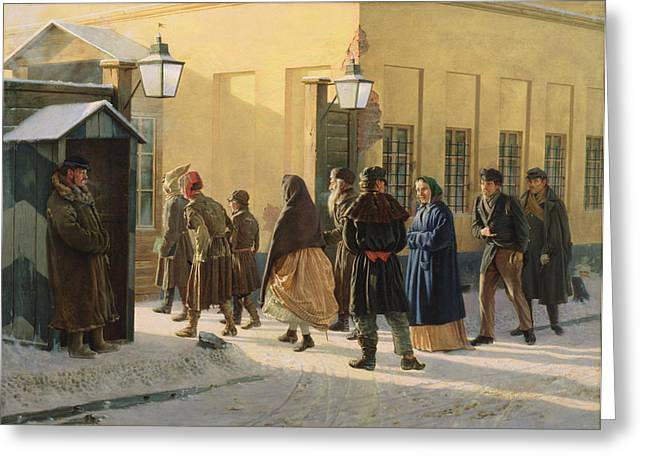 Queue Greeting Cards - A Street Scene, Outside A Prison, 1868 Oil On Canvas Greeting Card by Vasili Georgievich Malyschev