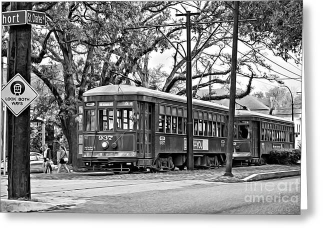 Oil Paint Digital Art Greeting Cards - A Streetcar Named St. Charles oil bw Greeting Card by Steve Harrington
