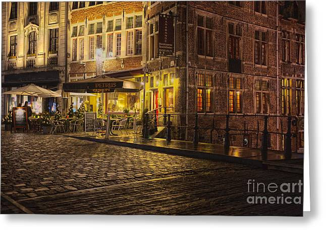Night Cafe Greeting Cards - A streetscene at night in Europe Greeting Card by Patricia Hofmeester