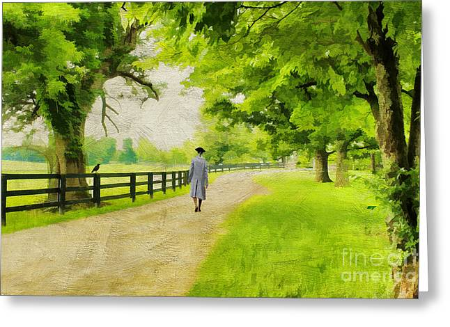 Colonial Man Photographs Greeting Cards - A Stroll Along the Bluegrass Greeting Card by Darren Fisher