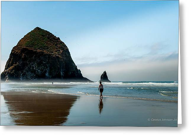 Haystack Framed Prints Greeting Cards - A Stroll At Cannon Beach Oregon Greeting Card by Cassius Johnson