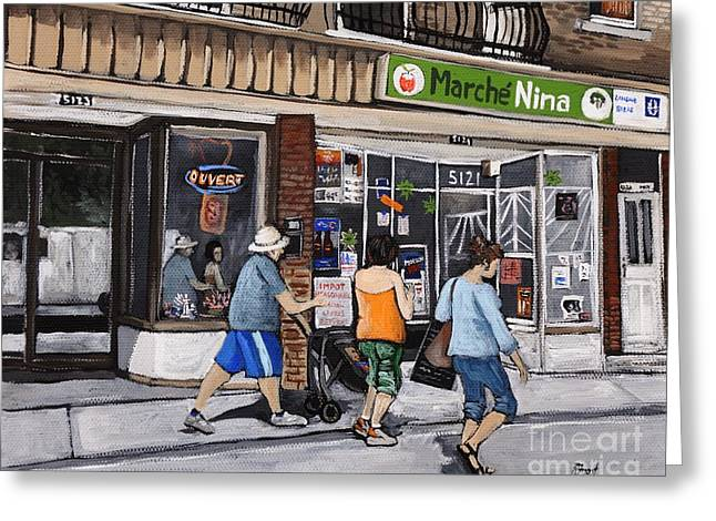 Montreal Street Life Greeting Cards - A Stroll Down Wellington Street in Verdun Greeting Card by Reb Frost