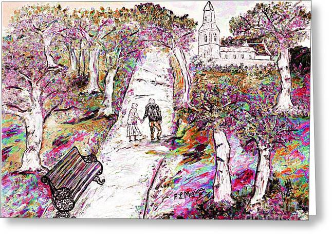 Country Church Mixed Media Greeting Cards - A stroll in autumn Greeting Card by Loredana Messina