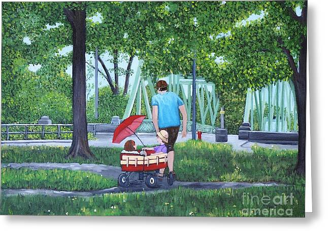 Park Scene Paintings Greeting Cards - A Stroll in the Park Greeting Card by Reb Frost