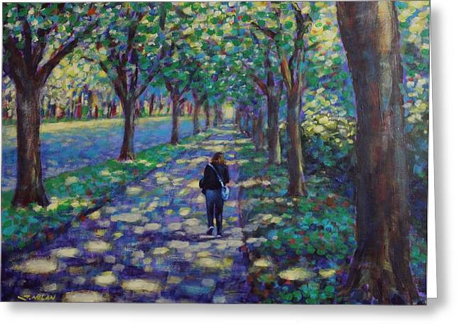 Landscape Framed Prints Greeting Cards - A Stroll On Griffith Avenue Dublin Greeting Card by John  Nolan