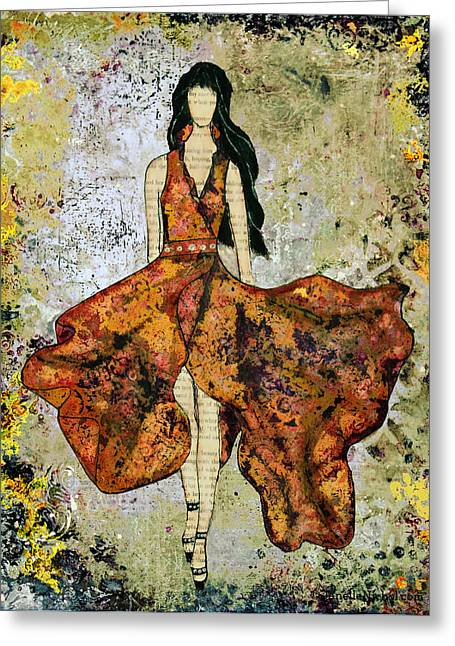 Black Dress Greeting Cards - A Stroll Through Autumn Greeting Card by Janelle Nichol