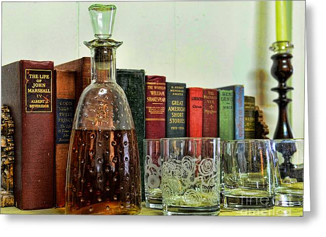 A Strong Drink And A Good Book Greeting Card by Paul Ward