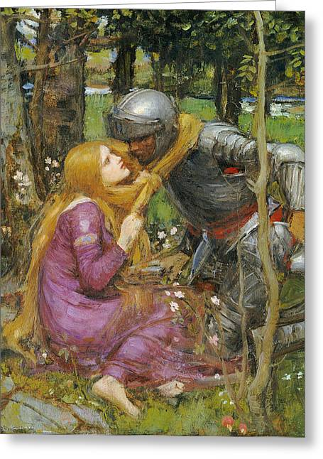 Lovers Greeting Cards - A study for La Belle Dame sans Merci Greeting Card by John William Waterhouse