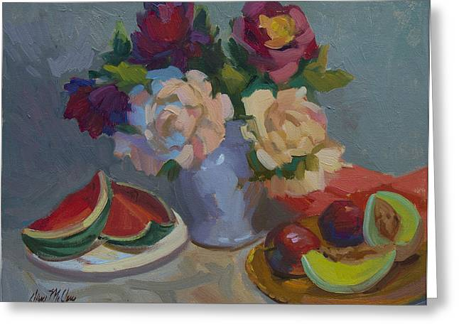 Melon Paintings Greeting Cards - A Study in Red Greeting Card by Diane McClary