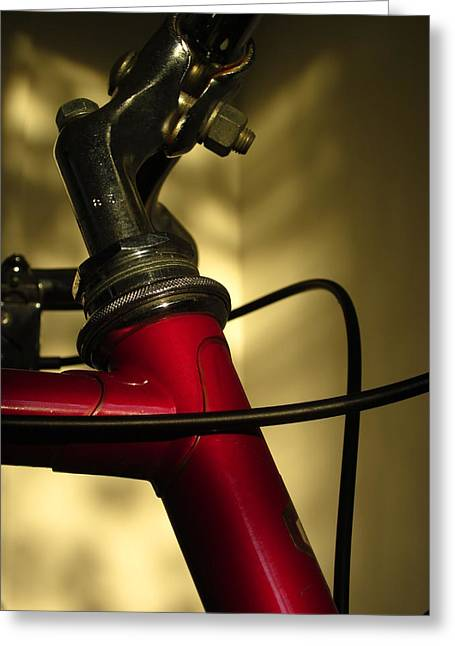 Wire Handle Greeting Cards - A Study in Scarlet Bicycle Greeting Card by Guy Ricketts