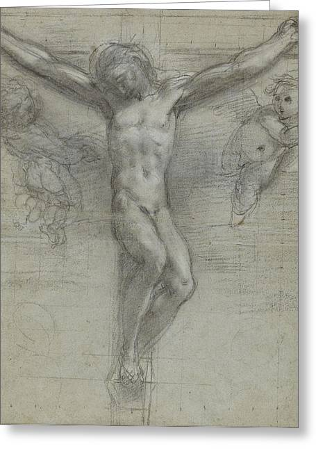 Calvary Greeting Cards - A Study Of Christ On The Cross With Two Greeting Card by Federico Fiori Barocci or Baroccio