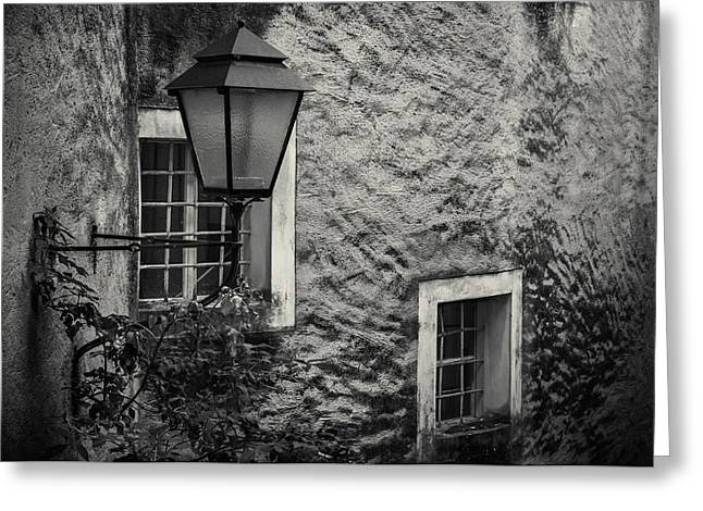 Austria Greeting Cards - A study of lamp and windows Greeting Card by Chris Fletcher