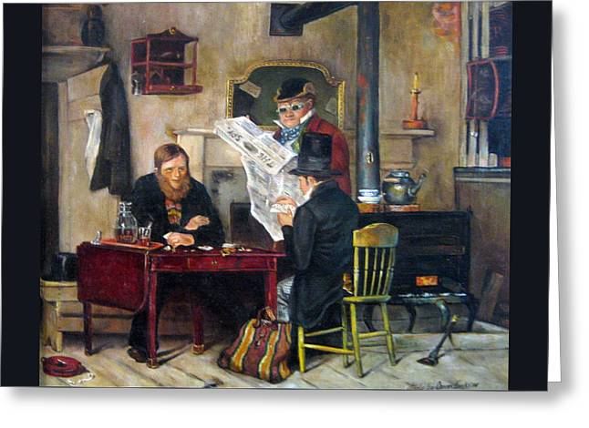 Old Masters Greeting Cards - A Study of Waiting for the Stage Greeting Card by Donna Tucker