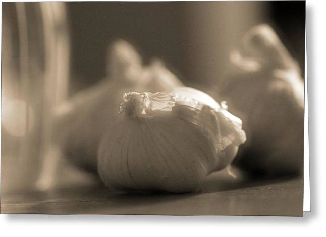 Italian Wine Greeting Cards - A Study On Garlic Greeting Card by Dan Sproul