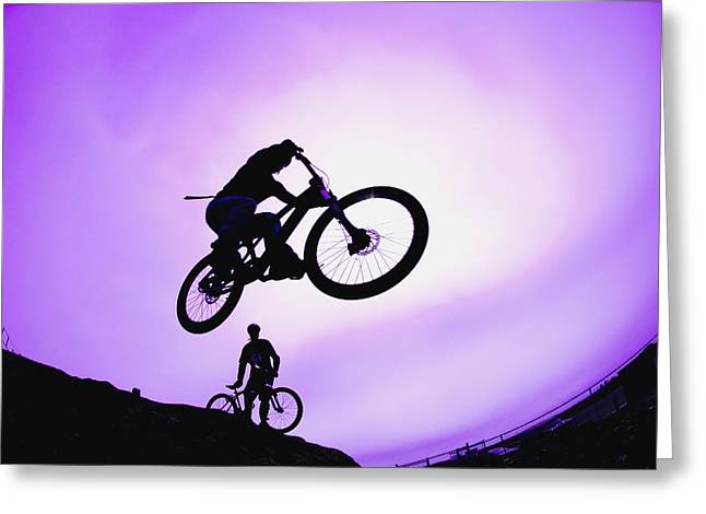 Observer Greeting Cards - A Stunt Cyclist Silhouette Greeting Card by Corey Hochachka