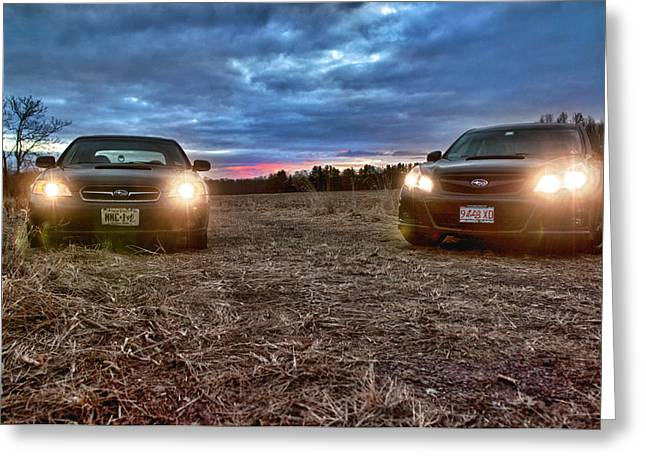 Blue Subaru Greeting Cards - A Subaru Sunset Greeting Card by Ryan Crane
