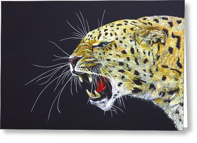 Leopard Drawings Greeting Cards - A Subtle Warning Greeting Card by John Hebb