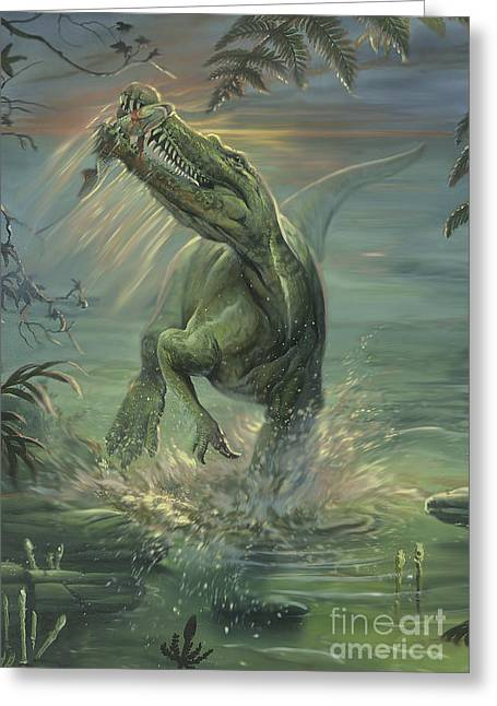 Fish Digital Art Greeting Cards - A Suchomimus Catches A Fish Greeting Card by Jan Sovak