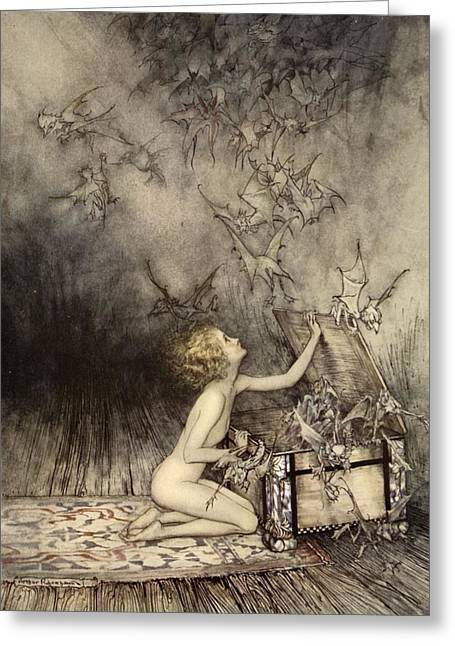 Spirit Drawings Greeting Cards - A Sudden Swarm Of Winged Creatures Greeting Card by Arthur Rackham