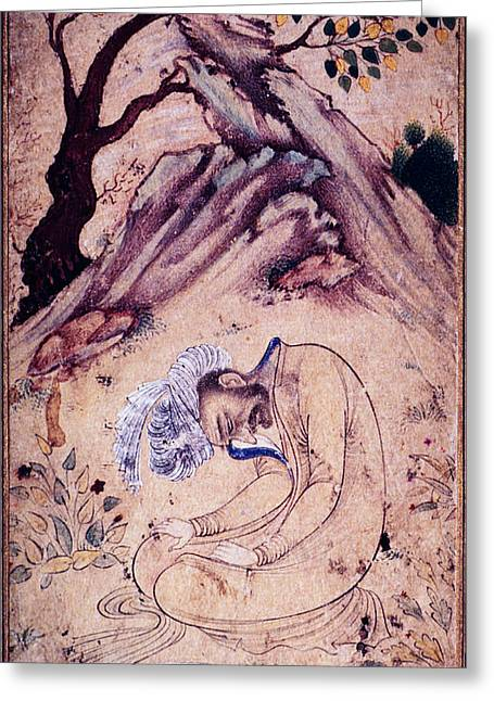 Night Lamp Greeting Cards - A Sufi in Ecstasy in a Landscape Greeting Card by Celestial Images