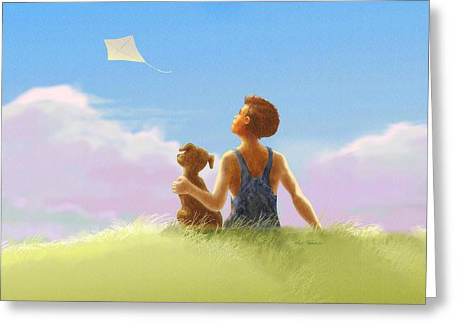 Kite Greeting Cards - A Summer Breeze Greeting Card by Nate Owens