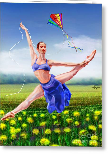 Ballet Dancers Greeting Cards - A Summer Breeze -Seasonal Winds Series 4 Of 4 Greeting Card by Reggie Duffie