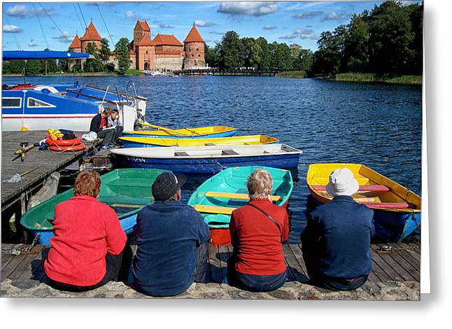 Lithuania Greeting Cards - A Summer Day at Trakai Castle Lithuania Greeting Card by Mary Lee Dereske