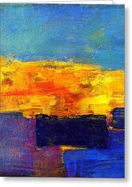 Sunset Reflecting In Water Greeting Cards - A Summer Evening Greeting Card by Jim Whalen