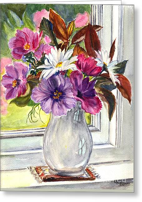 Glass Vase Drawings Greeting Cards - A Vase of Cosmos and Daisies Greeting Card by Carol Wisniewski