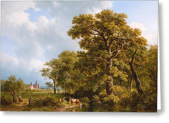 In The Distance Greeting Cards - A Summer Landscape with Cows Watering. A Castle in the Distance Greeting Card by Barend Cornelis Koekkoek