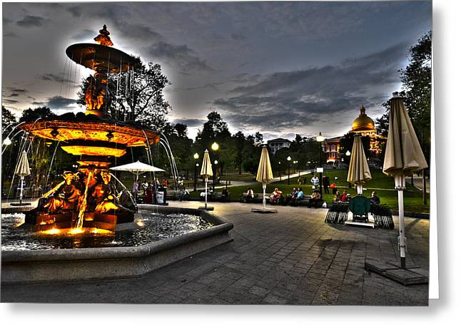 Oxford. Oxford Ma. Massachusetts Greeting Cards - A summer night on the Boston Common Greeting Card by Toby McGuire
