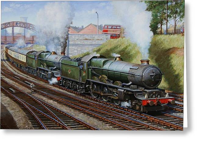 Trains Paintings Greeting Cards - A summer Saturday in the West. Greeting Card by Mike  Jeffries