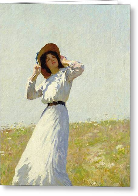 White Dress Greeting Cards - A Summes Day Greeting Card by William Henry Margetson