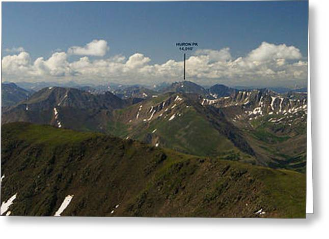 Pk Greeting Cards - A Summit View Panorama Text Greeting Card by Jeremy Rhoades