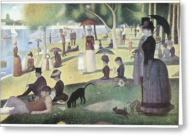 Sunday Stroll Greeting Cards - A Sunday Afternoon on the Island of La Grande Jatte Greeting Card by George-Pierre Seurat