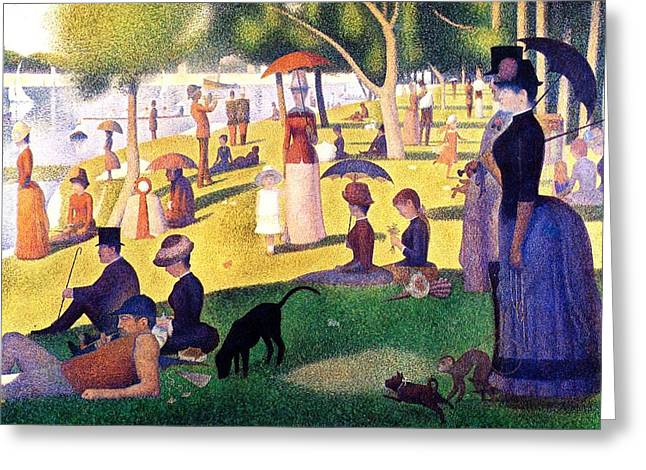 Sunday Picnic Greeting Cards - A Sunday Afternoon on the Island of La Grande Jatte Greeting Card by Seurat Georges