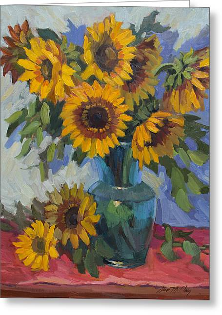 Glass Vase Paintings Greeting Cards - A Sunflower Day Greeting Card by Diane McClary