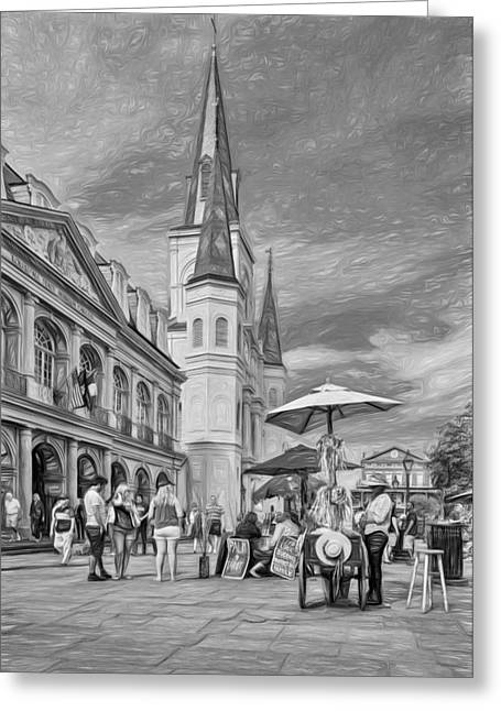 Lucky Dogs Greeting Cards - A Sunny Afternoon in Jackson Square 3 Greeting Card by Steve Harrington