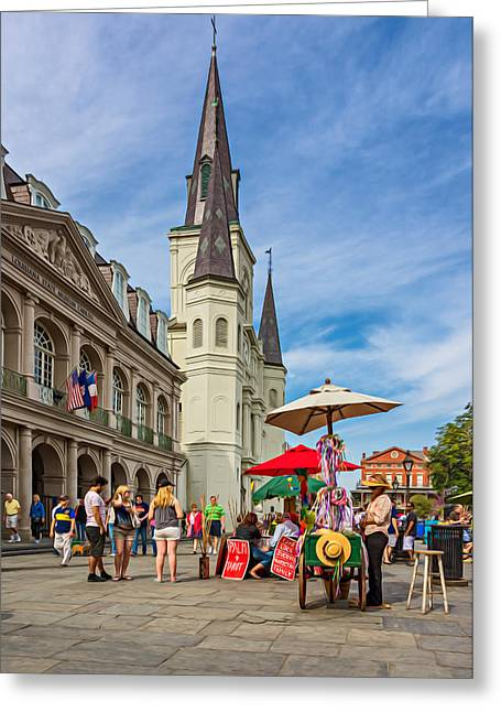 Lucky Dogs Greeting Cards - A Sunny Afternoon in Jackson Square oil Greeting Card by Steve Harrington