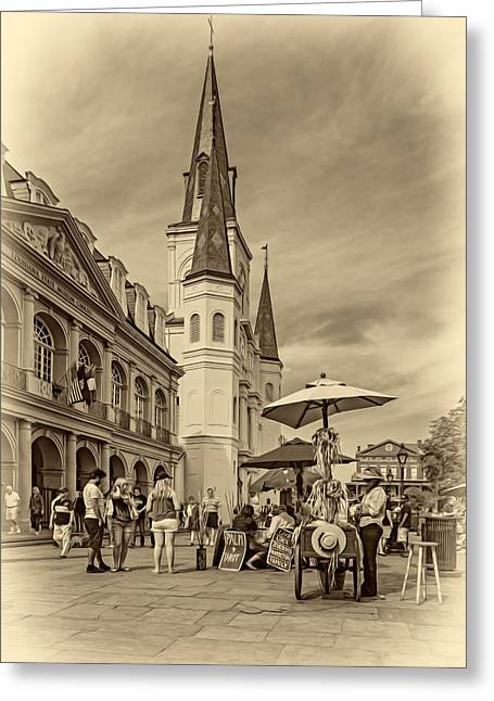 Lucky Dogs Greeting Cards - A Sunny Afternoon in Jackson Square sepia Greeting Card by Steve Harrington