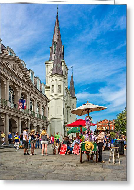 Lucky Dogs Photographs Greeting Cards - A Sunny Afternoon in Jackson Square Greeting Card by Steve Harrington