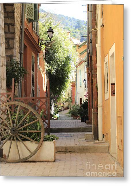 Shady Street Greeting Cards - A sunny alleyway in Toulon France Greeting Card by Peter McHallam
