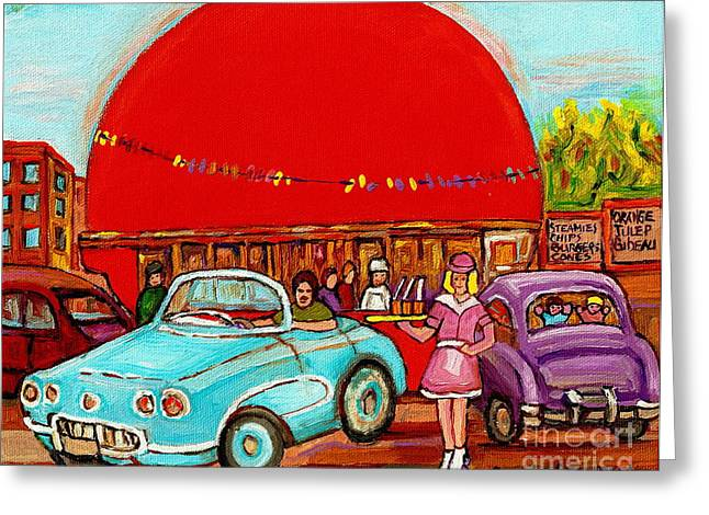 Orange Julep Greeting Cards - A Sunny Day At The Big Oj- Paintings Of Orange Julep-server On Roller Blades-carole Spandau Greeting Card by Carole Spandau