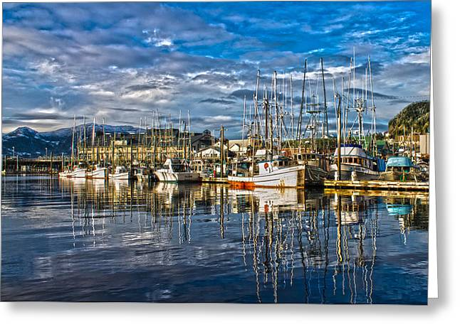 Boats At Dock Greeting Cards - A sunny day at the harbor Greeting Card by Timothy Latta