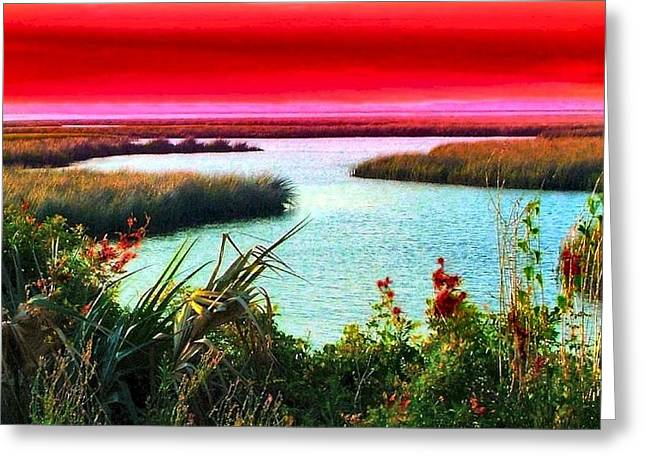 Julie Dant Artography Photographs Greeting Cards - A Sunset Crimsoned Greeting Card by Julie Dant